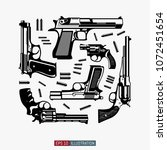guns and ammunition silhouettes ... | Shutterstock .eps vector #1072451654