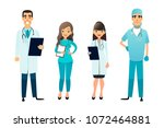 doctors and nurses team.... | Shutterstock .eps vector #1072464881