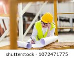 busy female architect working    Shutterstock . vector #1072471775