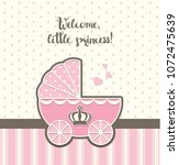 baby shower  pink vintage...   Shutterstock .eps vector #1072475639