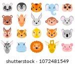 big vector set of cute animals...   Shutterstock .eps vector #1072481549