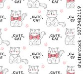 cats vector seamless pattern....   Shutterstock .eps vector #1072482119