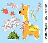 giraffe cartoon illustration  ...   Shutterstock .eps vector #1072486205