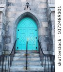 Small photo of Torrington,Connecticut,United States.April 11th,2018.Center Congregational Church green door and stairs in Torrington Connecticut United States.