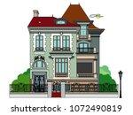 vector illustration of a mansion   Shutterstock .eps vector #1072490819