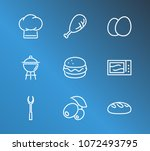 cooking icon set and grill with ... | Shutterstock . vector #1072493795
