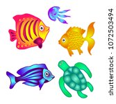 sea fish  turtle and jellyfish...   Shutterstock .eps vector #1072503494