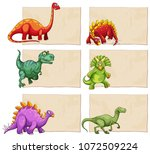 empty template with dinosaurs... | Shutterstock .eps vector #1072509224