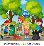 good kids are cleaning park... | Shutterstock .eps vector #1072509281