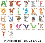 zoo alphabet. animal alphabet.... | Shutterstock .eps vector #1072517321