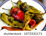 pueblo roasted chili peppers   Shutterstock . vector #1072532171