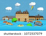 city   flood flooding water in... | Shutterstock .eps vector #1072537079
