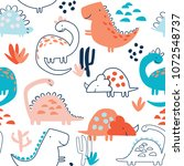 childish seamless pattern with... | Shutterstock .eps vector #1072548737