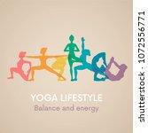 women silhouettes. yoga poses.... | Shutterstock .eps vector #1072556771