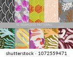 collection of seamless patterns.... | Shutterstock .eps vector #1072559471