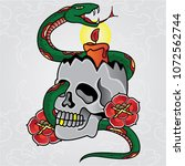 vector candle and snake tattoo... | Shutterstock .eps vector #1072562744