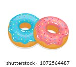 delicious appetizing donuts...   Shutterstock .eps vector #1072564487