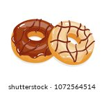 delicious appetizing donuts... | Shutterstock .eps vector #1072564514