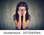 closeup portrait young man in... | Shutterstock . vector #1072565564