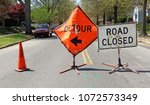 detour and road closed signs on ... | Shutterstock . vector #1072573349