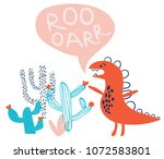 childish hand drawn dino with... | Shutterstock .eps vector #1072583801