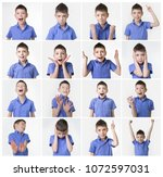 collage about funny teenager ... | Shutterstock . vector #1072597031