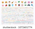 all type of emojis  emoticons ... | Shutterstock .eps vector #1072601774