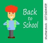 schoolboy with backpack.... | Shutterstock .eps vector #1072604459
