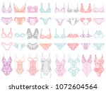 Stock vector collection of lingerie panty and bra set vector illustrations 1072604564