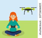 girl piloted flying drone | Shutterstock .eps vector #1072606835