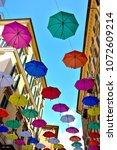 colorful umbrellas in the...   Shutterstock . vector #1072609214
