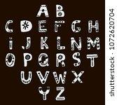 vector  hand drawn alphabet in... | Shutterstock .eps vector #1072620704