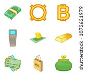 cash loan icons set. cartoon... | Shutterstock .eps vector #1072621979
