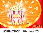 flying popcorn ad poster ...   Shutterstock .eps vector #1072632791