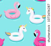 flamingo and unicorn inflatable ... | Shutterstock .eps vector #1072656287
