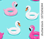 flamingo and swan inflatable... | Shutterstock .eps vector #1072656344