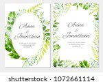 wedding invitation with green... | Shutterstock .eps vector #1072661114