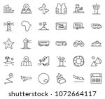 thin line icon set   plane... | Shutterstock .eps vector #1072664117