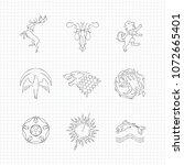 pencil drawing line heraldic...   Shutterstock .eps vector #1072665401