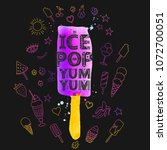 illustration with ice pop.... | Shutterstock . vector #1072700051