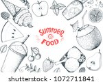summer food vector illustration.... | Shutterstock .eps vector #1072711841