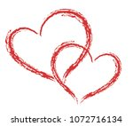 2 heart shape vector  sketch... | Shutterstock .eps vector #1072716134