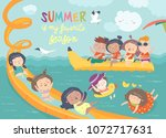 kids playing and enjoying at... | Shutterstock .eps vector #1072717631