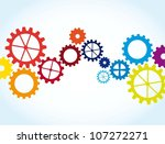 colorful gears over blue... | Shutterstock .eps vector #107272271