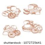 bakery bread and patisserie... | Shutterstock .eps vector #1072725641