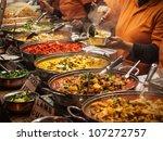 indian food at london market   Shutterstock . vector #107272757