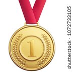 golden medal isolated on a... | Shutterstock . vector #1072733105