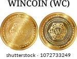 set of physical golden coin... | Shutterstock .eps vector #1072733249