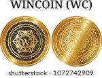 set of physical golden coin... | Shutterstock .eps vector #1072742909
