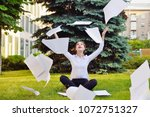 office yoga. business lady in... | Shutterstock . vector #1072751327